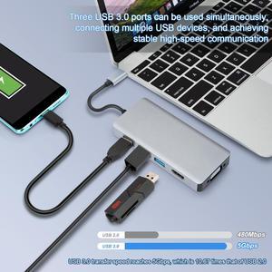 Image 2 - Thunderbolt 3 USB C ประเภท C ถึง HDMI VGA USB HUB 4K สำหรับ Samsung S9 HDTV โปรเจคเตอร์คอมพิวเตอร์ USB C Cable Adapter