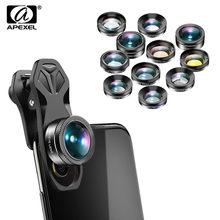 APEXEL zestaw obiektywów do aparatu 11w1 Fisheye 140 stopni szeroki kąt pełny/grad filtr CPL ND makro mobilna kamera obiektyw do telefonów komórkowych