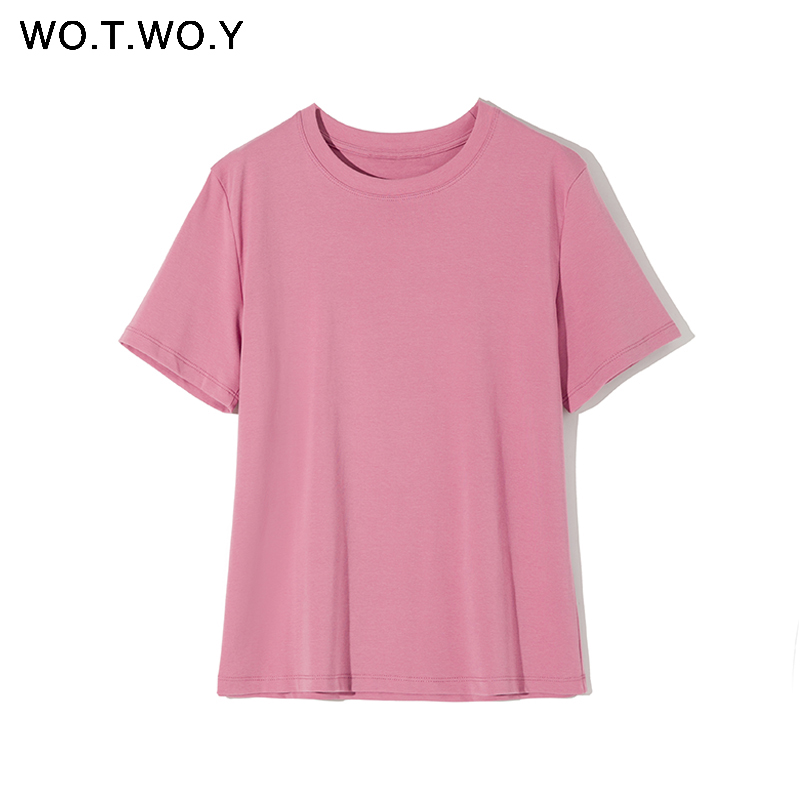 WOTWOY 2020 Summer Basic T-shirts Women Solid O-Neck Cotton Tops Female Casual Short Sleeve Tee Shirt Woman White Black Harajuku