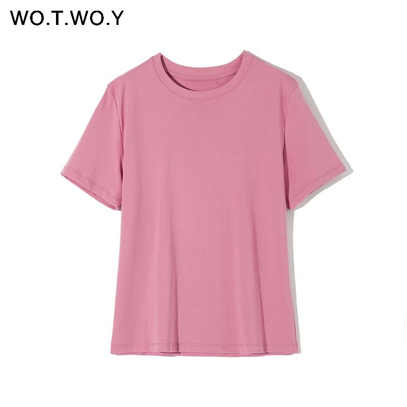WOTWOY 2020 Summer Basic T-shirts Women Solid O-Neck Cotton Tops Female Casual Short Sleeve Tee Shirt Woman White Black Harajuku