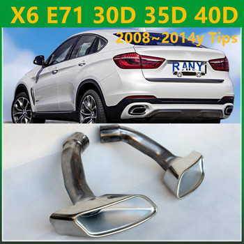 Chrome Pure 304 Stainless Steel x6 Exhaust Muffler Tip For BMW X6 E71 30D 35D 40D 2008~2014y image