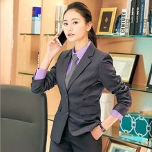 Office Uniform Designs Ladies Plus Size Pant Suits for Women Black Blue Gray 2 P