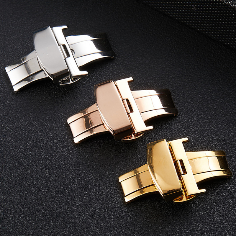 Durable Butterfly Deployment Watch Clasp 12 14 16 18 20 22mm 316 Stainless Steel Solid Double Push Button Fold Watch Buckle