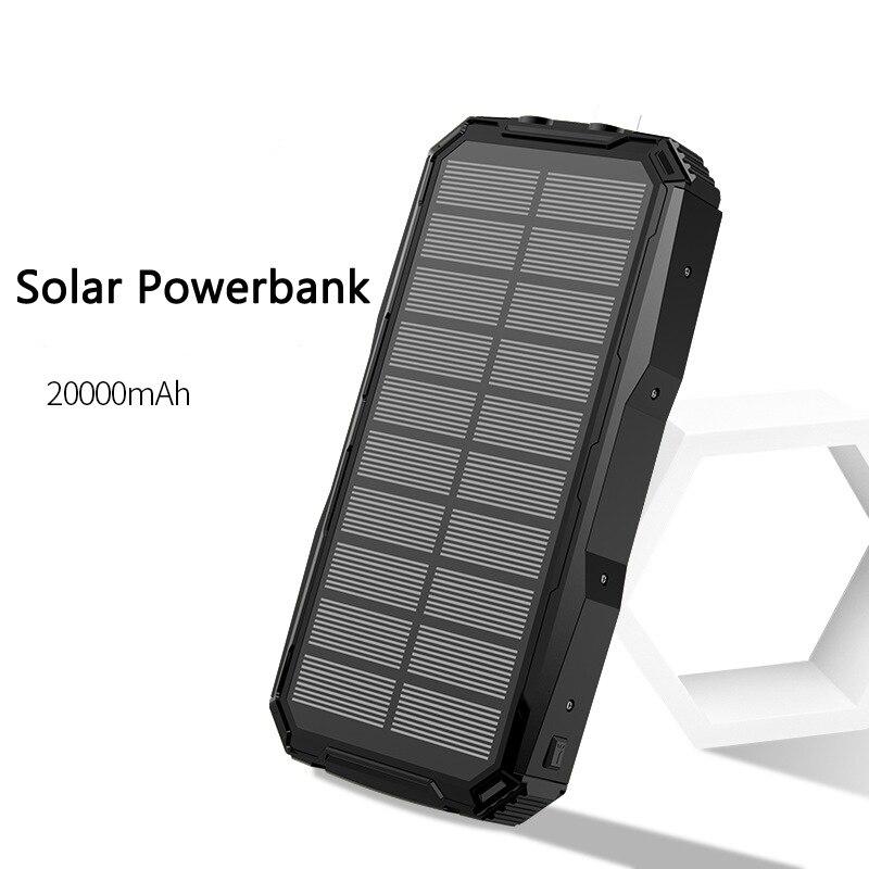 Внешний аккумулятор на солнечной батарее 20000 мАч для Xiaomi iPhone Samsung 2 USB портативное зарядное устройство Внешняя батарея повербанк с фонариком