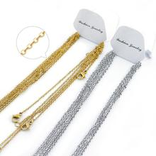 Linsoir Stainless Chains With Lobster Clasp 2mm Men Women Gold/Steel Stainless Steel Link Cuban Chain Necklaces For Jewelry DIY