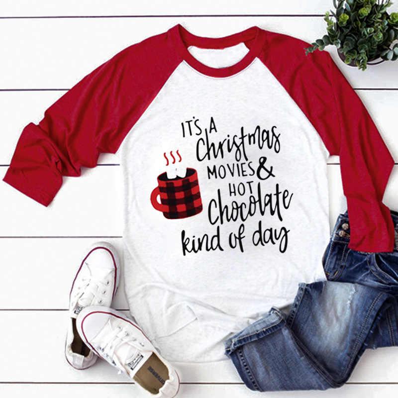 Рождественский топ, футболка с принтом 2019, женские топы, футболки с длинными рукавами, 3XL топ, Женская Осенняя уличная Женская Повседневная футболка