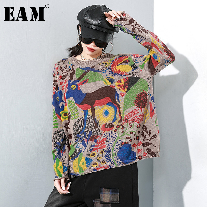 [EAM] Pattern Big Size Knitting Sweater Loose Fit Round Neck Long Sleeve Women Pullovers New Fashion Spring Autumn 2020 1M627