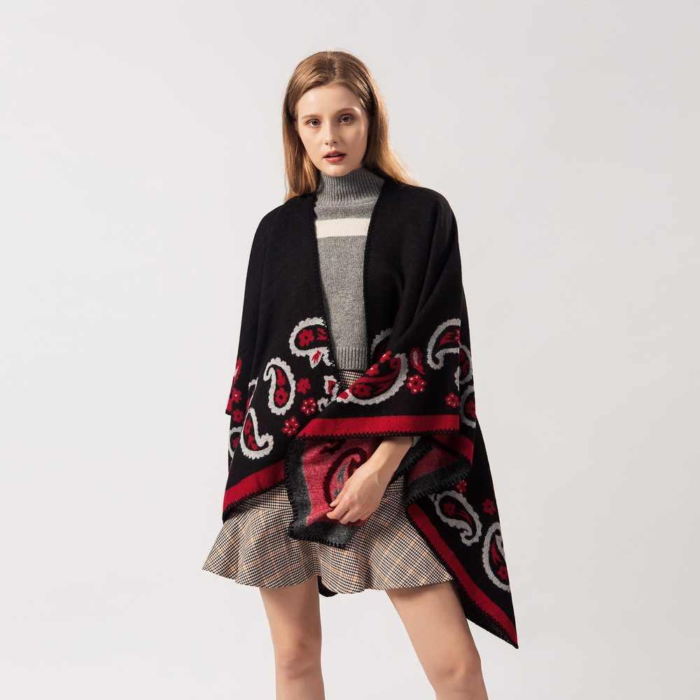 특대 겨울 패션 여성 니트 판초 술 두꺼운 스웨터 카디건 캐주얼 스카프 batwing 슬리브 점퍼 판초와 케이프