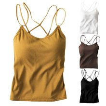 Women Sleeveless Tank Top Solid Color Slim Camisole Criss Cross Backless Vest