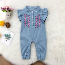 Pudcoco bebê recém-nascido menina denim manga mosca macacão calças compridas verão roupas da menina do bebê 0-24m