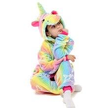 Пижамы для девочек с вышивкой; детские комбинезоны; Детские пижамы кигуруми; Детские пижамы с единорогом и радугой; детские комбинезоны