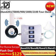 4g (Band 20)LTE800/900/1800/2100 Four-Band Mobile Signal Booster gsm repeater 2g 3g  4g Cellular Amplifier LTE GSM WCDMA DCS