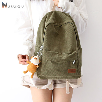 2020  New Design Macarons Corduroy Girls Backpack Women Leisure Bag Teenager School Student Book Bag Daily Young Out Door ajalt japanese for young people ii student book