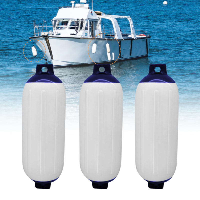 3 Pcs Boat Fender Vinyl Ribbed Inflatable Bumper Marine Dock Shield UV Protection PVC 11 X 40cm For Yacht Speedboat Boat ACC