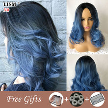 цена на Lace Front Wig Synthetic New Women Moda Feminina Wave Wigs Perruque Naturelle Blonde Pink/Ombre Blue/Brown Hair Pelucas De Mujer