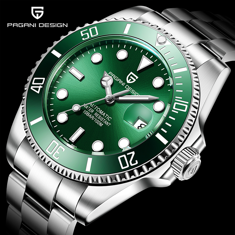 PAGANI DESIGN Luxury Brand Men Watches Automatic Green Watch Men Stainless Steel Waterproof Business Sport Mechanical Wristwatch