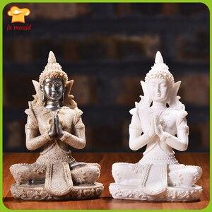 3D маленькая статуя Будды силиконовая форма для свеч-прессформы с ладаном, каменная штукатурка, украшение для дома, кабинета, чайной комнаты