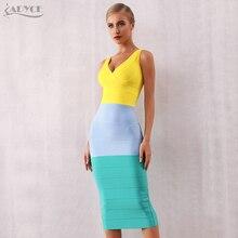 Adyce 새로운 여름 여성 Bodycon 붕대 드레스 2020 섹시한 V 넥 민소매 탱크 클럽 복장 유명 인사 저녁 파티 드레스 Vestidos