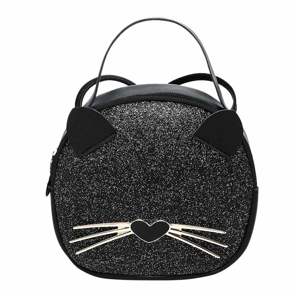 Handtas Black Sequin Crossbody Tassen Voor Vrouwen Leuke Kat Meisjes Kleine Messenger Bag Effen Kleur Lederen Schoudertas Bolsas # t5P