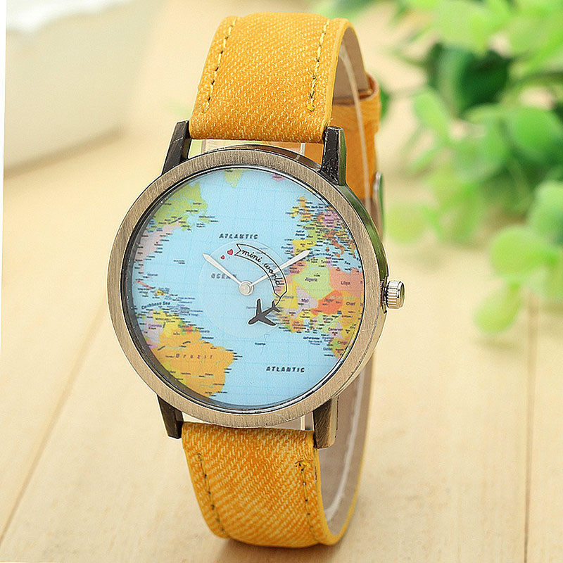 2020 New Ladies Trend Watch Fashion World Travel Airplane Map Analog Dial Clock Ladies Dress Watch Denim Band Re-Record image