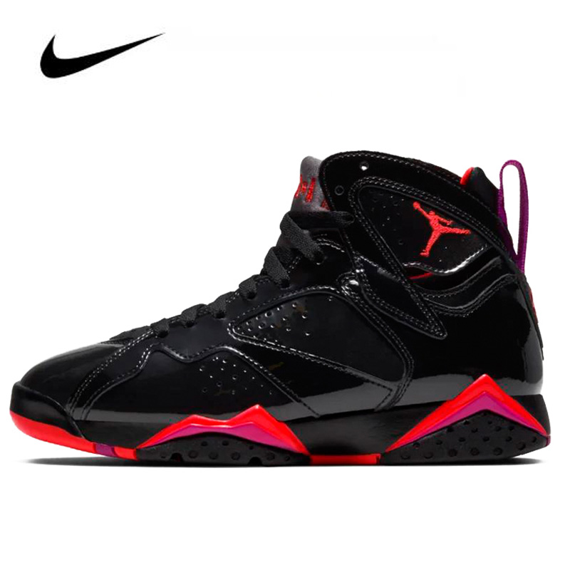 High Top Nike Air Jordan 7 Patent Leather 313358-006 Men's Jordan Shoes Basketball Shoes Comfortable Gym Training Boots Women