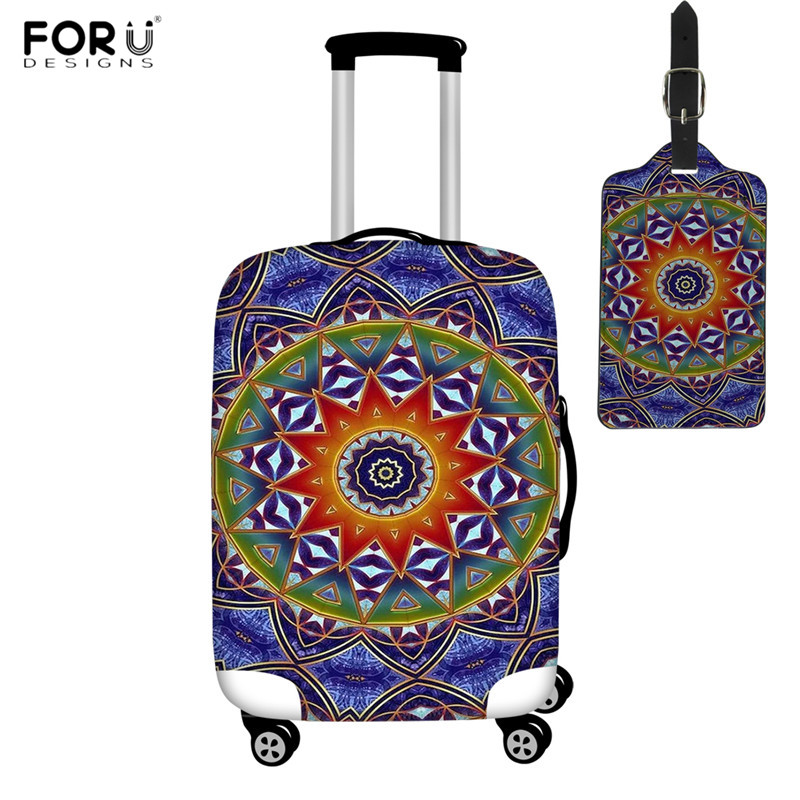 FORUDESIGNS Travel Accessories Suitcase Cover Sacred Sun Mandala Print Elastic Luggage Protective Covers Spandex Baggage Cover