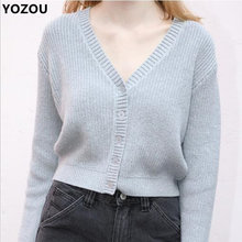 Women 90s autumn vintage v neck single breasted buttons up solid short cardigan sweater for female pink green blue gray sweater(China)