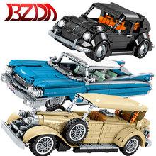 BZDA Retro Technic Car Cadillac Eldorado klocki zbieraj klocki Model samochodu cegły urodziny prezent dla zabawki dla chłopców tanie tanio CN (pochodzenie) Unisex 6 lat Mały budynek blok (kompatybilne z Lego) Can t eat Z tworzywa sztucznego