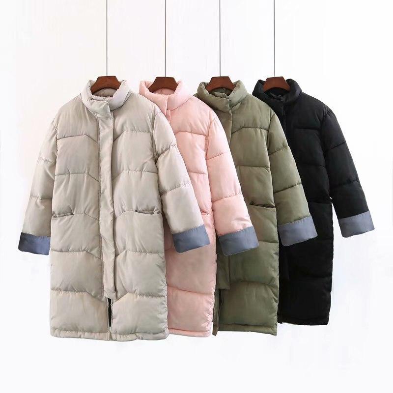 Mooirue 2019 Winter Harajuku   Parka   Streetwear Overcoat Patchwork Turtleneck Pocket Vintage Streetwear Plus Size Long   Parka   Coats