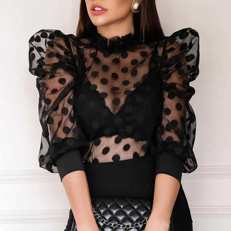 Sexy Women T shirt Fishnet Polka Dot Mesh Small Stand-Up Collar Long Sleeve Top 2021 Women New Sexy See Through Mesh Cropped Top