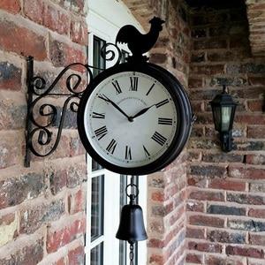 Image 5 - Horloge murale de jardin en plein air Double face coq Vintage rétro décor à la maison