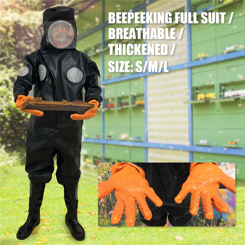 New Professional Thicken PU Full Body Beekeeping Bee Keeping Suit with Hat Gloves Goggles