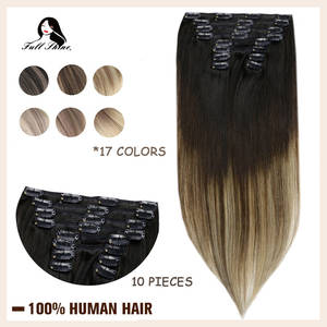 Human-Hair-Extensions Hair-Clip Ombre-Color Natural Full-Shine 10pcs 100g Double-Weft