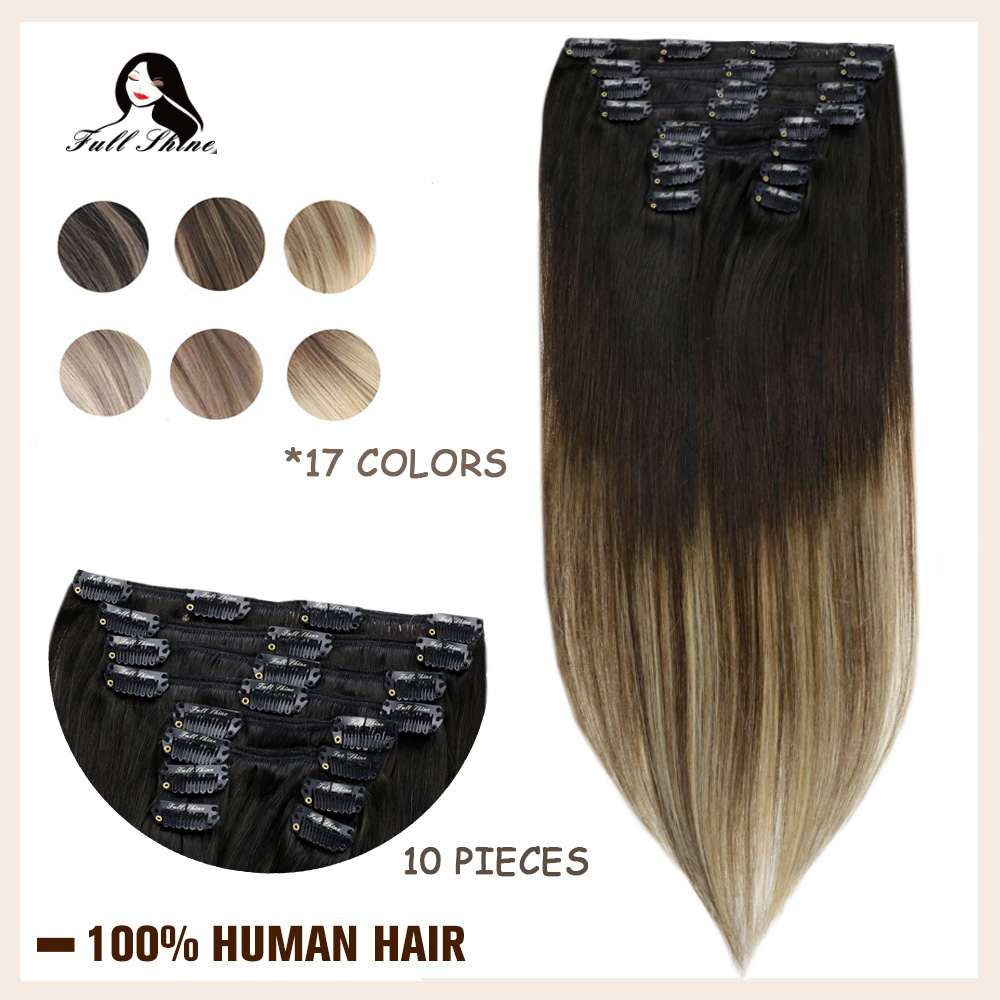 Full Shine Clip in Human Hair Extensions Balayage Ombre Color 10Pcs 100g Double Weft 100% Machine Made Remy Natural Hair Clip On