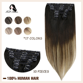 Full Shine Clip in Human Hair Extensions Balayage Ombre Color Hairpins 10Pcs 100g Double Weft 100% Machine Remy Natural Hair full shine balayage color 3 8 613 hair weft 100g hair weave sew in ribbon hair 100