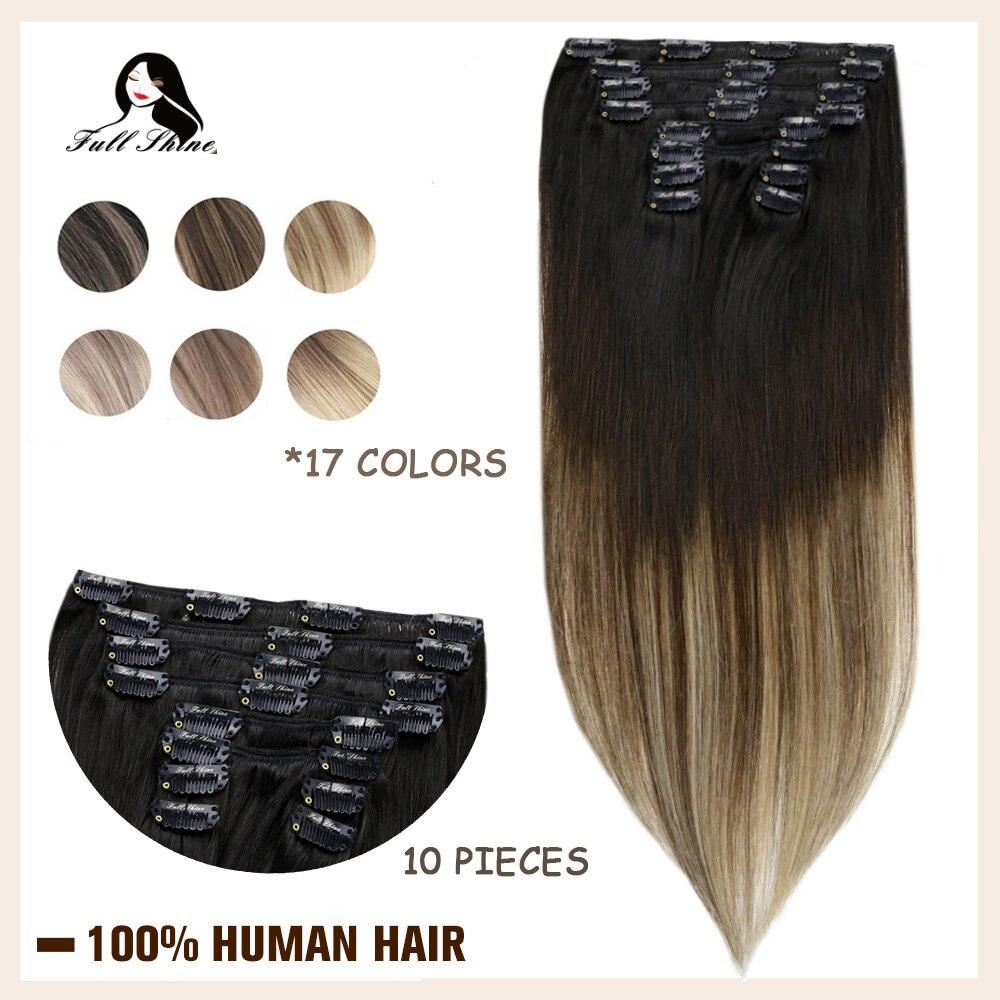 Grampo completo do brilho em extensões do cabelo humano balayage ombre cor 10 pces 100g trama dobro 100% máquina feita remy grampo de cabelo natural em