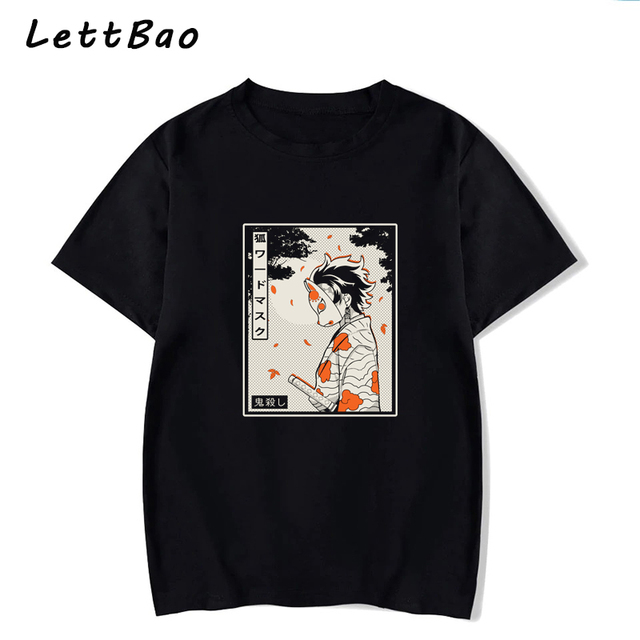 Masked Demon Slayer Dark Printed T Shirt Ulzzang Gothic Tees Fashion Japanese Anime Shirt Men Tee Cotton 100% Oversized Tshirt 1
