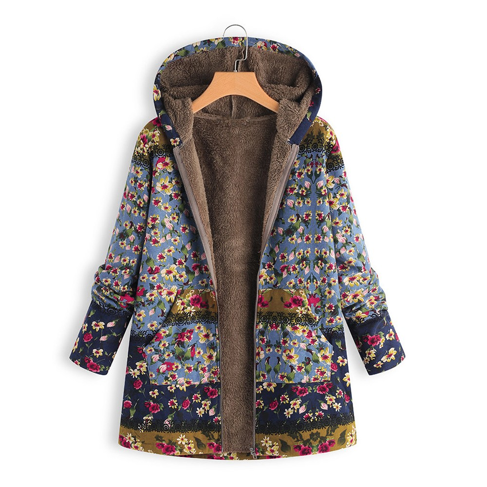 H31d8ec7f1ce44fd080b8616f04abf04fs Female trench coat women's windbreaker тренч ropa Winter Warm Outwear Floral Print Hooded Pockets Vintage Oversize Coats h4
