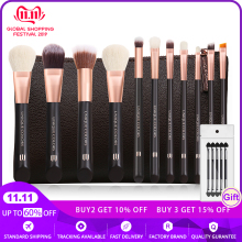 11Pcs Professional Makeup Brushes Set Full Range Make up Brushes sets Brown Wooden handle Rose gold ferrule with synthestic hair