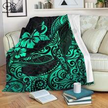 Бирюзовое одеяло в полинезийском стиле с горбом шерпа 3d принтом
