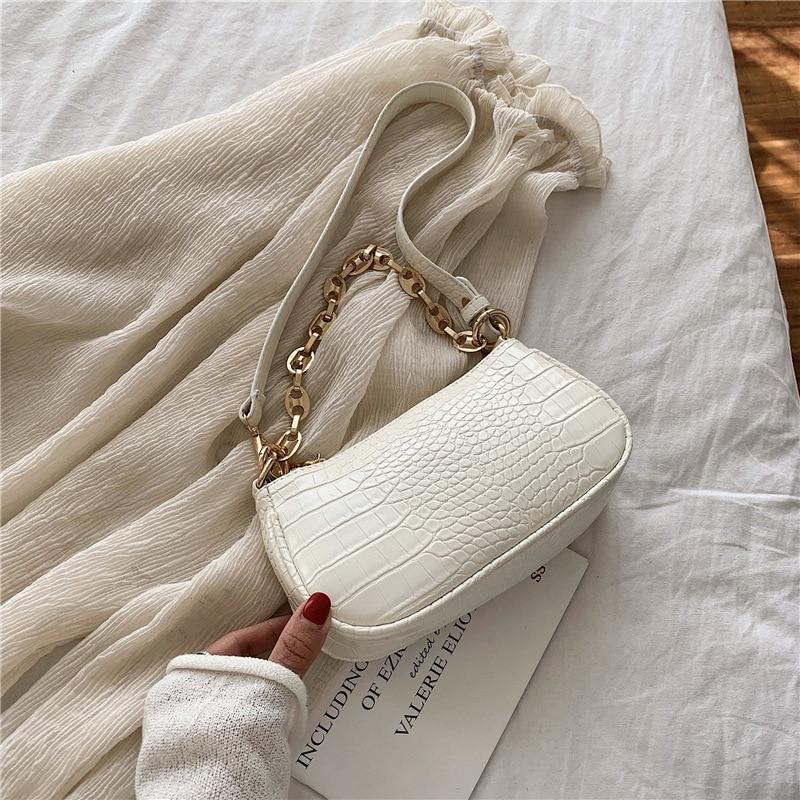 Moda çanta baguette me model krokodili çanta prej lëkure mini PU - Çanta dore - Foto 2