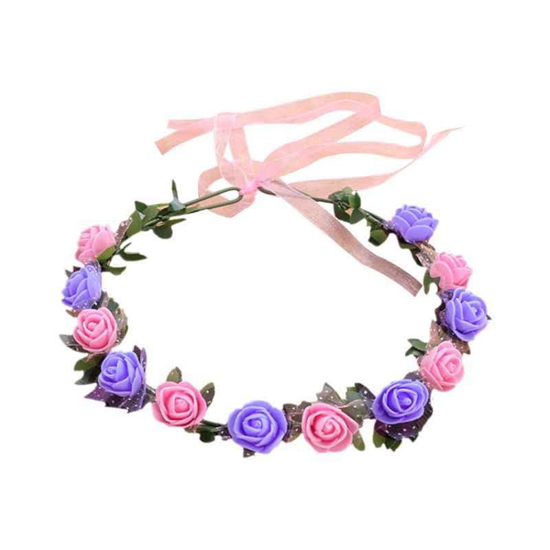 18 ألوان النساء الزفاف عقال الشاطئ الطرف 12 بولي ايثيلين رغوة زهرة الورد متعدد الألوان إكليل تاج الزفاف الشريط إكليل خوذة