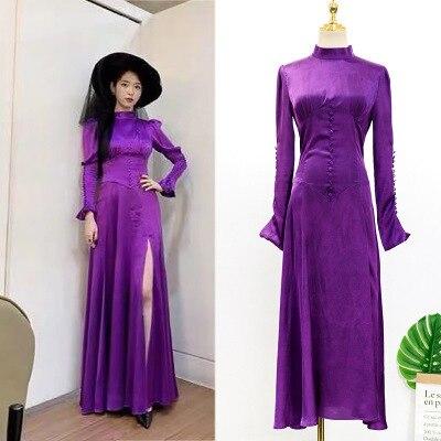 Mor Elbise kadınlar için DEL LUNA Otel aynı IU Lee Ji Eun sonbahar mizaç kadın elbise bahar