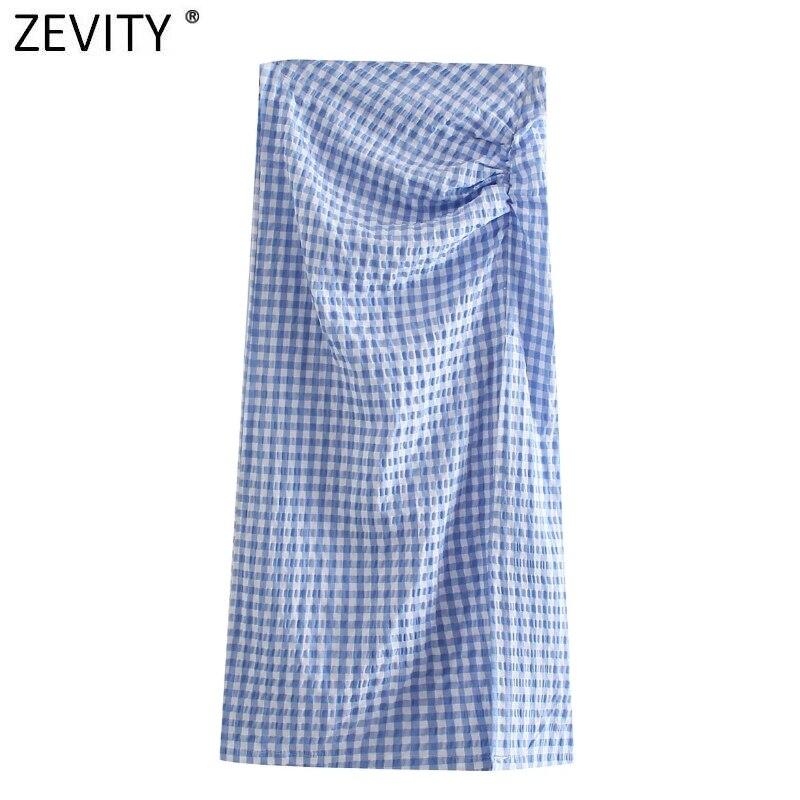 Zevity Женская модная плиссированная облегающая юбка в клетку с принтом, женские сексуальные юбки с высоким разрезом, Юбки миди на молнии сзад...