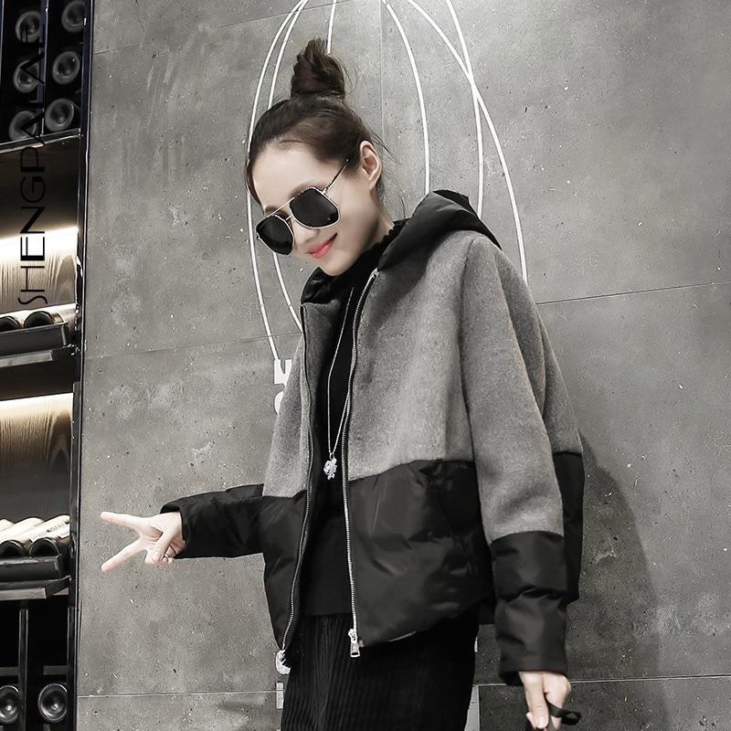 SHENGPALAE 2019 nouvelle mode automne hiver à capuche col laine couture coton veste femmes lâche décontracté marée manteau FT985