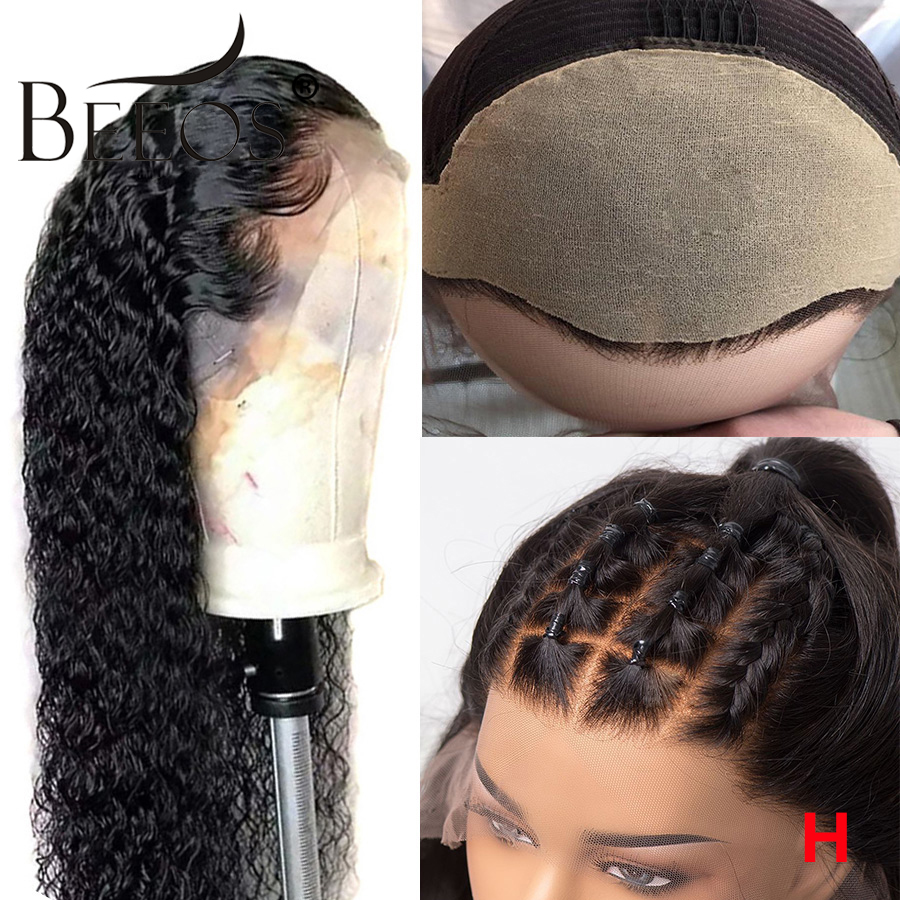 Beeos Fake Scalp Cap 150% 13*6 Lace Front Human Hair Wigs For Women Black PrePlucked Glueless Curly Wig Brazilian Remy For Women