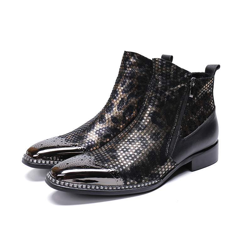 Genuine Leather Double Zipper Ankle Boots Fashion  Bullock Carved Dress Shoes Pointed Toe Martin Boots Big Size 46