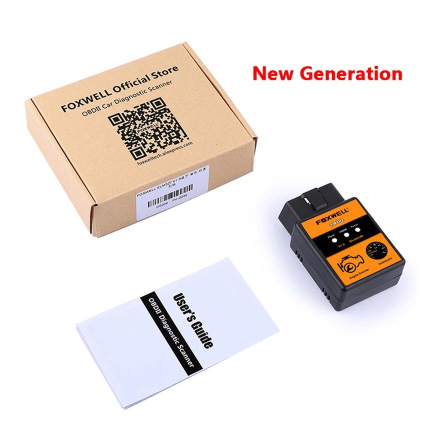 Kodów samochodowych czytnik FOXWELL FW102 V1.5 ELM327 OBD2 Adapter Bluetooth diagnostyczne OBDII skaner V 1.5 25K80