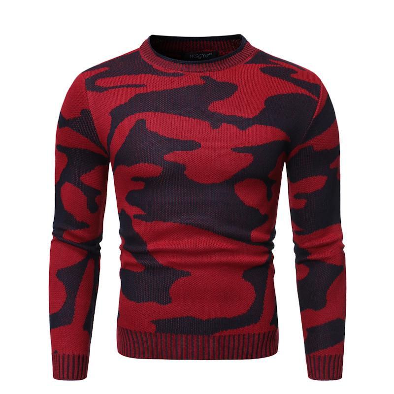 Loose Knitted Pullover Sueter Camouflage Round Neck Pullover Sweater For Men Red Gray Green Autumn New