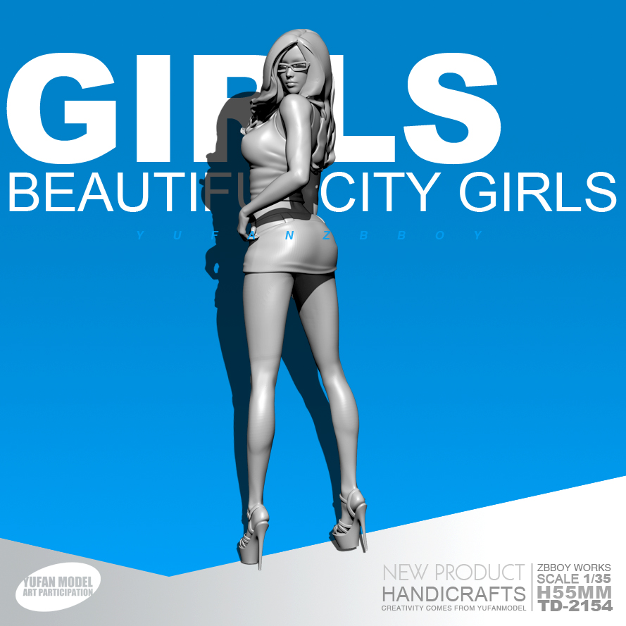 55mm Resin Kits GIRLS Office Girl Resin Beauty Model Self-assembled TD-2154( Excluded Glasses)